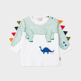 Paul Smith Baby Boys' White 'Dinosaur' Print T-Shirt With Arm Fringing
