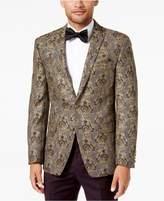 Tallia Men's Slim-Fit Gold/Black Floral Brocade Peak-Lapel Dinner Jacket