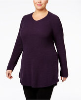 Style&Co. Style & Co. Plus Size V-Neck Waffle-Knit Tunic, Only at Macy's