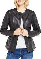 Oasis Leather Collarless Jacket, Black