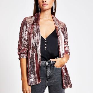 River Island Womens Rose Gold sequin embellished blazer