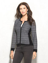 dressbarn roz&ALI Textured Zip Sweater