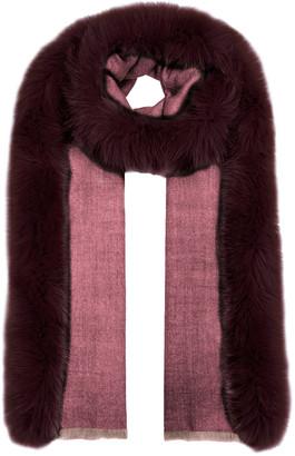 AMA Pure Burgundy Fur-trimmed Wool Scarf