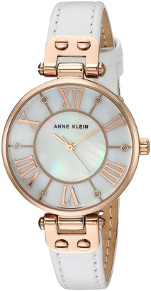 Anne Klein Women's Quartz Metal and Leather Dress Watch Color:White