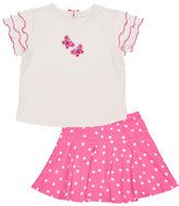 Florence Eiseman Butterfly Tee w/ Polka-Dot Skirt, Pink, Size 2-6X