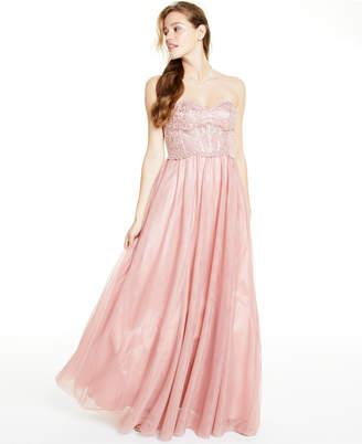 Blondie Nites Juniors' Strapless Mesh Gown