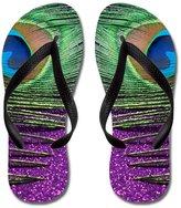 Gueskie Glittery Purple Peacock Curtains flip flops