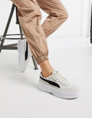 Puma Deva Suede flatform trainers in white