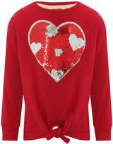 M&Co Two way sequin heart tie front sweater