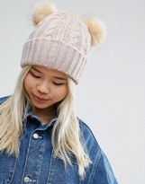 Asos Cable Faux Fur Double Pom Beanie