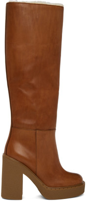 Prada Brown Platform Tall Boots