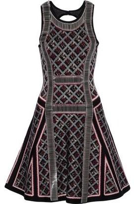 Herve Leger Kacey Cutout Embellished Jacquard-knit Dress