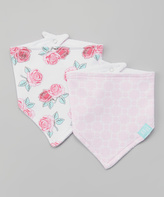 Hudson Baby Pink & White Rose Bandanna Bib - Set of Two