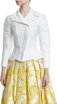 Zac Posen 3/4-Sleeve Stretch-Cotton Moto Jacket, White