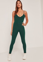 Missguided Green Jersey Strappy Unitard Romper