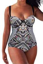NORAME Womens One Piece Swimsuit Plus Size Padded Wired Push Up Monokini Bathing Suit L