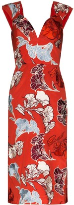 Johanna Ortiz Floral Print Fitted Dress