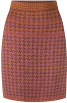 Studio Myr Knitted Knee Length Pencil Skirt In Pieds-De-Poule Pattern Tweed-Heather