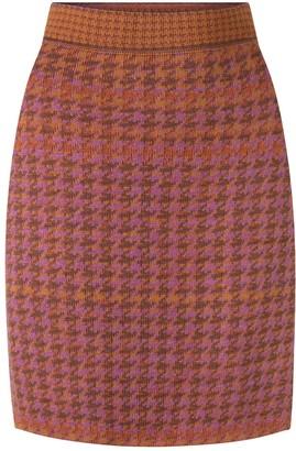 Studio Myr Knee Length Pencil Skirt In Pieds-De-Poule Pattern, Tweed-Heather.