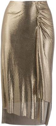 Paco Rabanne Metallic Ruched Skirt