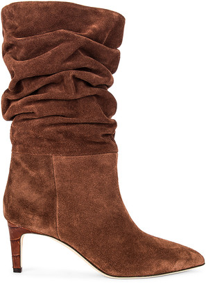 Paris Texas Velour Slouchy Boot in Espresso | FWRD