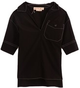 Marni Cotton Poplin Short Sleeve Polo Neck Blouse in Black