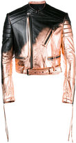 Haider Ackermann spray paint biker jacket - men - Cotton/Leather/Rayon - M