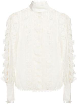 Zimmermann Guipure Lace-trimmed Linen And Silk-blend Blouse