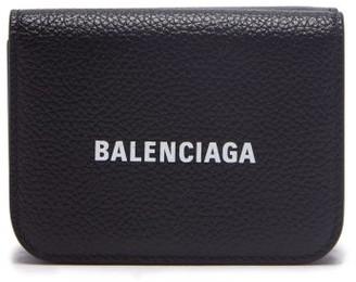 Balenciaga Logo-print Mini Grained-leather Wallet - Black
