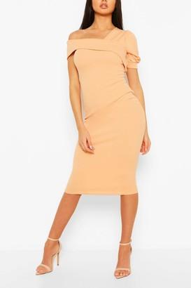 boohoo Off Shoulder Puff Sleeve Midi Dress