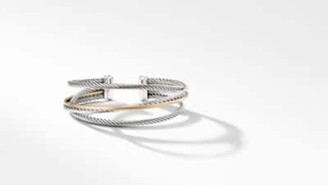 David Yurman The Crossover Collection Three-Row Cuff With 18K Yellow