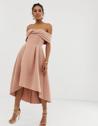 Bardot Asos Design ASOS DESIGN off shoulder midi prom dress-Brown