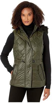 MICHAEL Michael Kors Active Vest with Faux Fur Trim Hood A421030TZ (Black) Women's Clothing