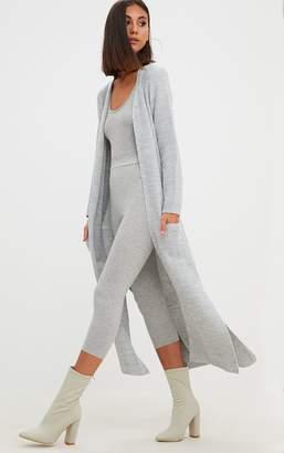 PrettyLittleThing Grey Pocket Front Maxi Cardigan