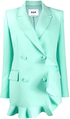 MSGM Ruffled Double-Breasted Blazer