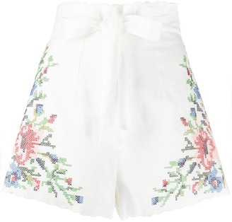 Zimmermann Floral Embroidered Shorts
