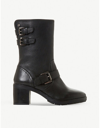 Dune Rileys faux-leather strapped biker boots