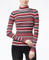 Planet Gold Juniors' Striped Fine Gauge Turtleneck Sweater