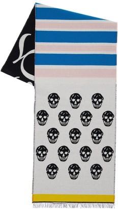 Alexander McQueen Skull & Stripes Wool Scarf