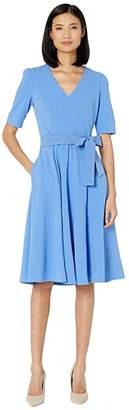 Donna Morgan Short Sleeve High Twist Stretch Crepe Midi Dress (Blue Bonnet) Women's Clothing