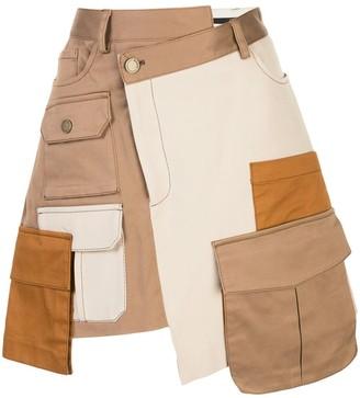 Monse Patchwork Twill Mini Skirt