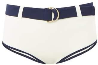Odyssee - Azur High-waisted Belted Bikini Briefs - Womens - Cream