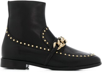 Casadei Chain Link Loafer-Stlye Boots