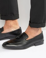 Asos Tassel Loafers In Black Leather With Apron Toe