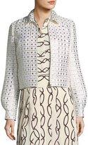 Tory Burch Brenna Zip-Front Gridded Lurex® Jacket
