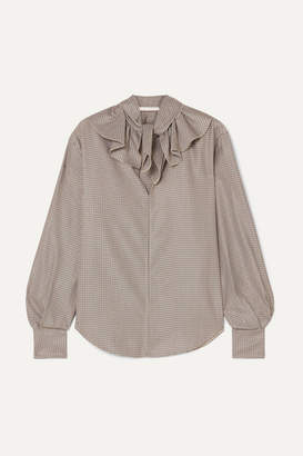 See by Chloe Ruffled Houndstooth Crepe Blouse - Brown