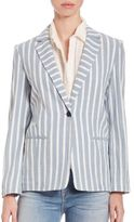 Frame Le Striped One-Button Blazer