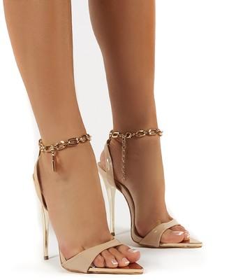 Public Desire Uk Triumph Wide Fit Lock Chain Detail Anklet Strap Stiletto Heels