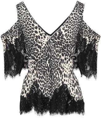 McQ Cold-shoulder Lace-trimmed Leopard-print Crepe Top