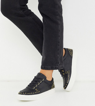 Simply Be extra wide fit studded trainer in black